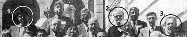 Виржиния, США, весна 1996. Слева направо в кружках: Суриков, Брейтвейн, Эрмарт. Во втором ряду под Брейтвейтом – А. Пионтковский. Фрагмент фотографии из газеты «Коммерсант» от 10 сентября 99 г., вся фотография)